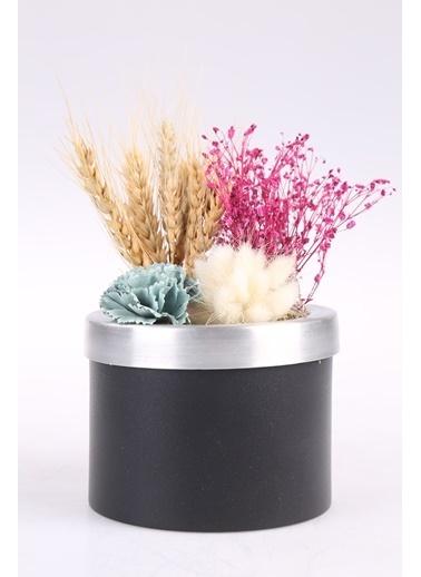 Kibrithane Çiçek Yapay Çiçek Metal Saksı Kuru Çiçek Aranjman Kc00200780 Renkli